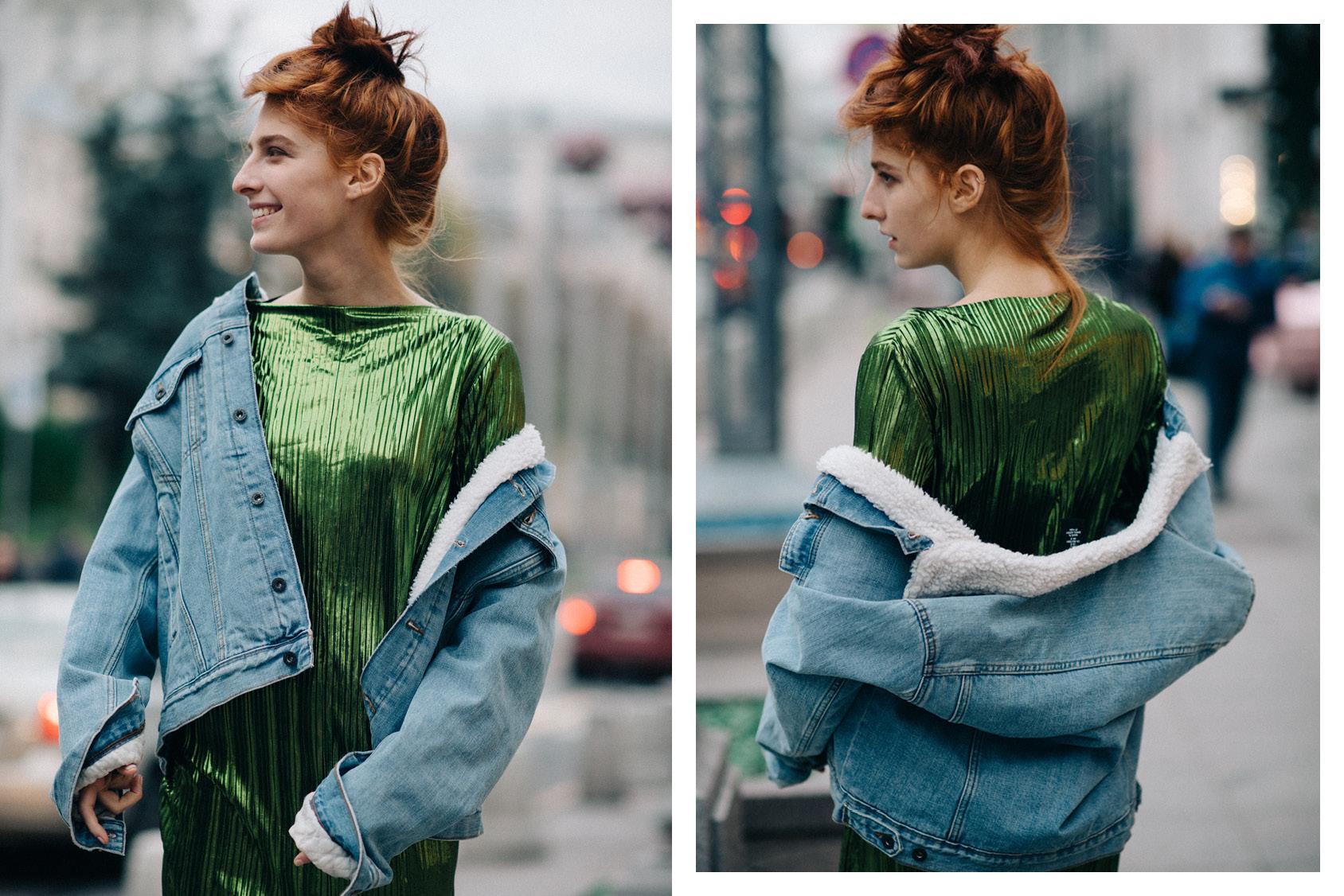 Musia Totibadze wearing H&M green dress