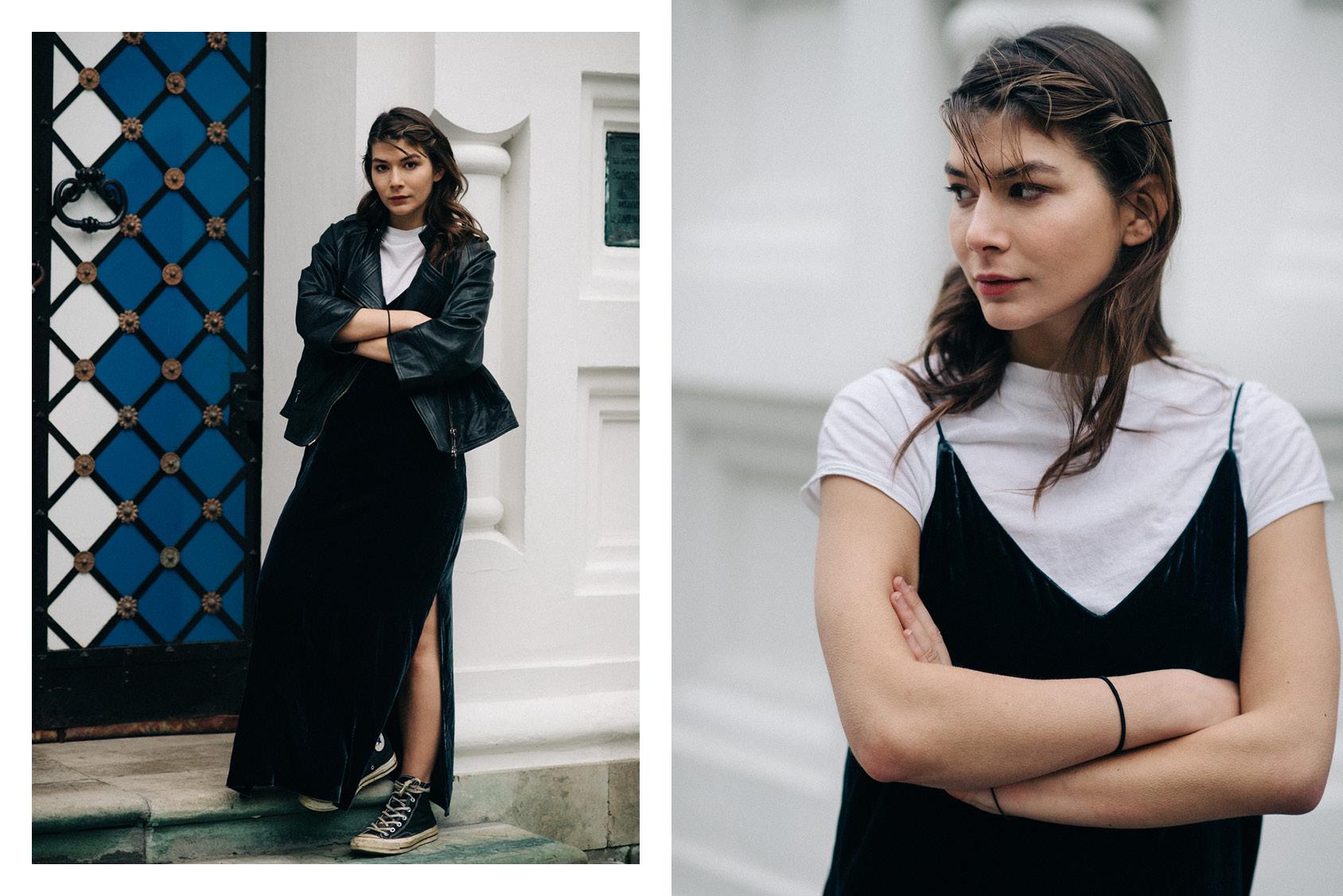 Sasha Mikhalkova con vestido lencero de H&M