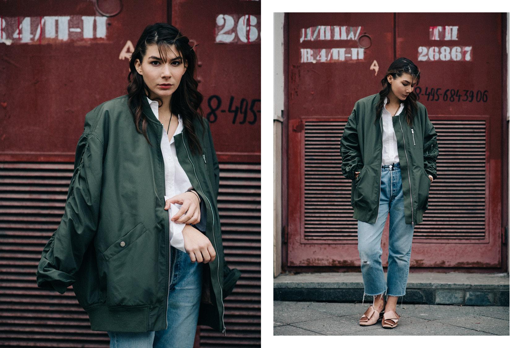 Sasha Mikhalkova in H&M jacket