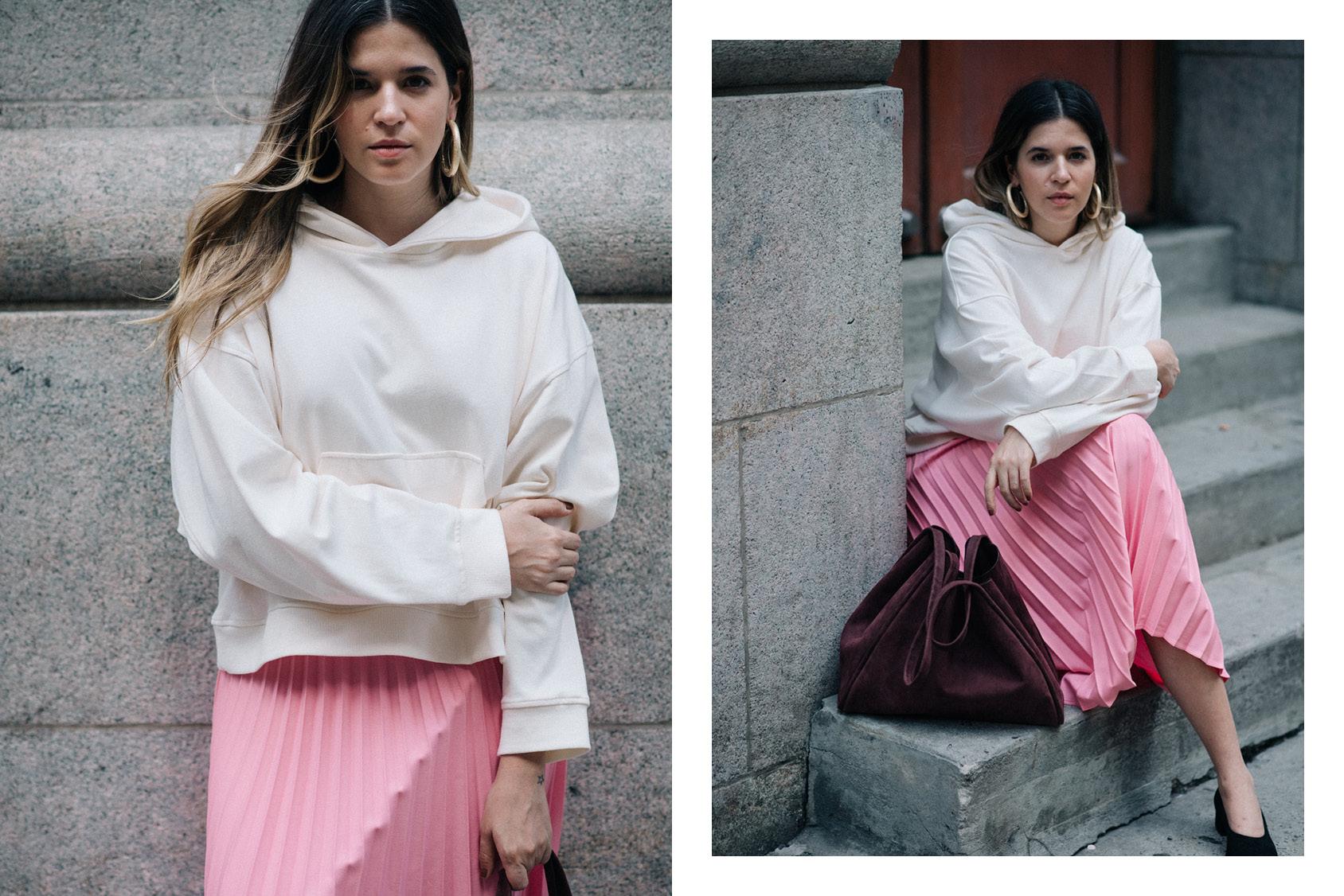 Maristella Gonzalez - H&M pink skirt