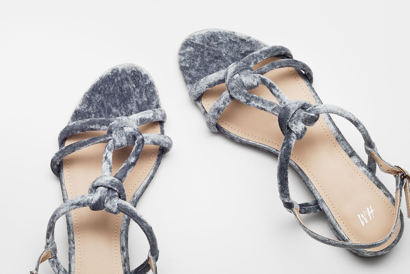 Velvet sandals H&M