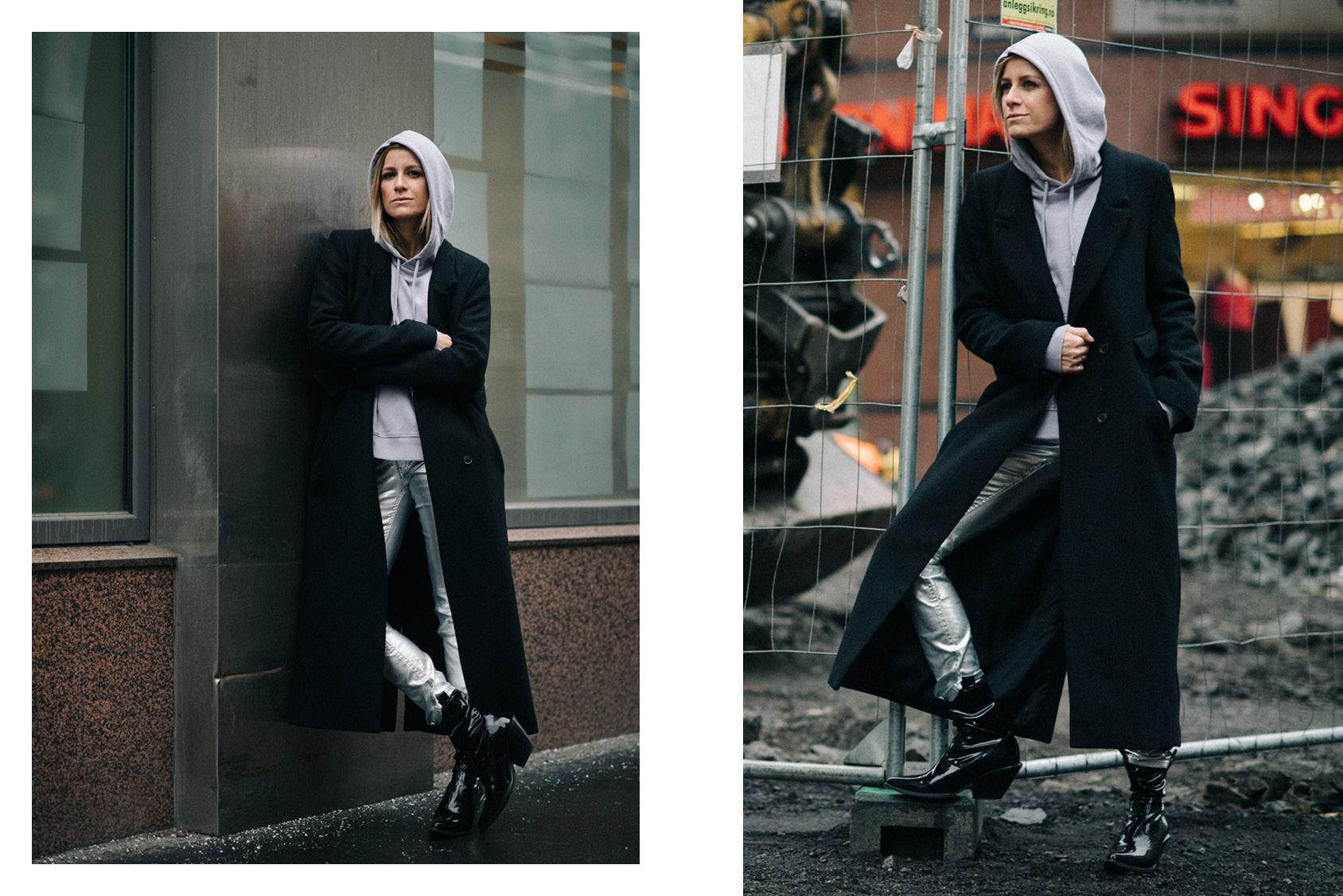 Celine Aagaard wearing H&M silver pants