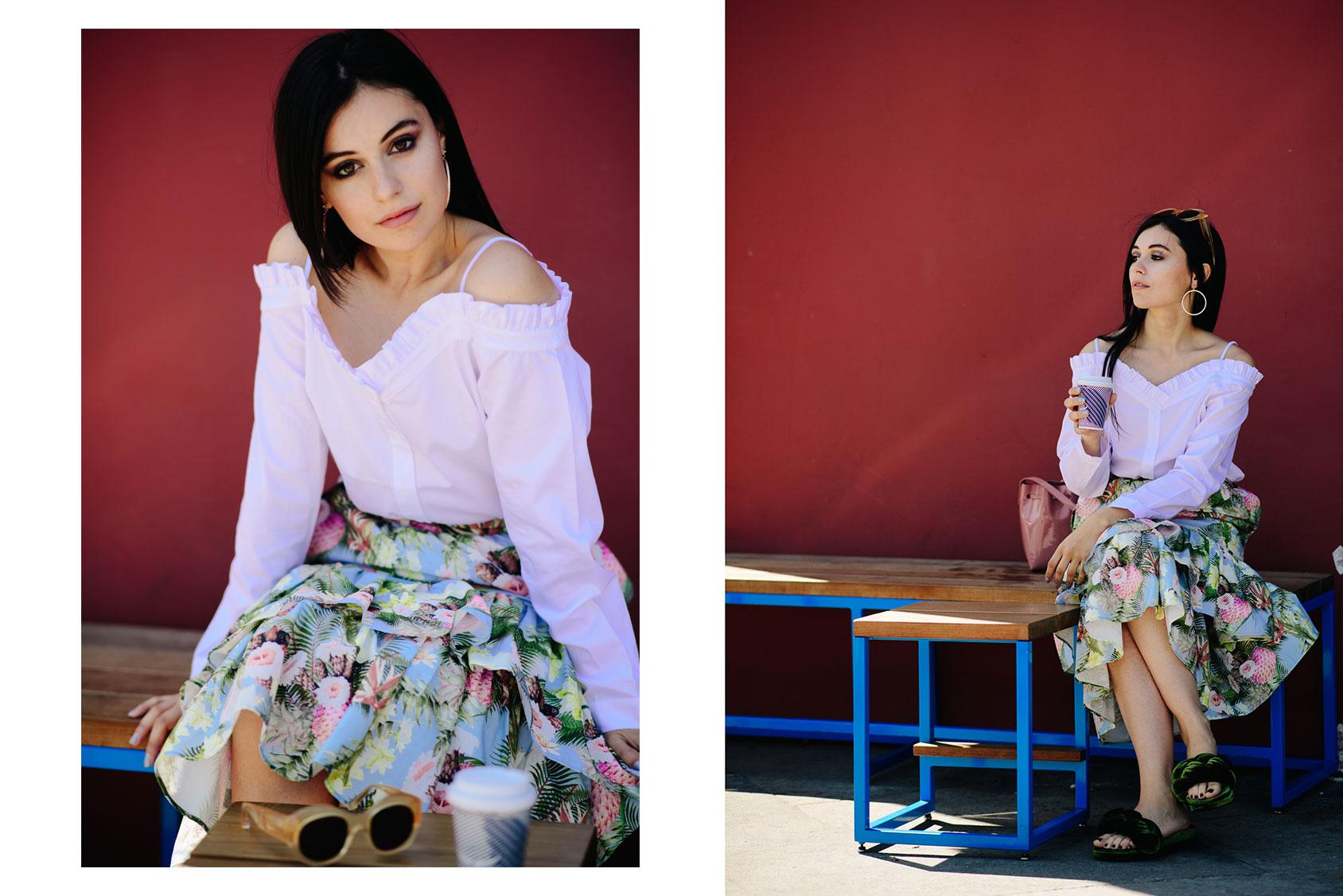 Marta Pozzan con falda y camiseta de H&M