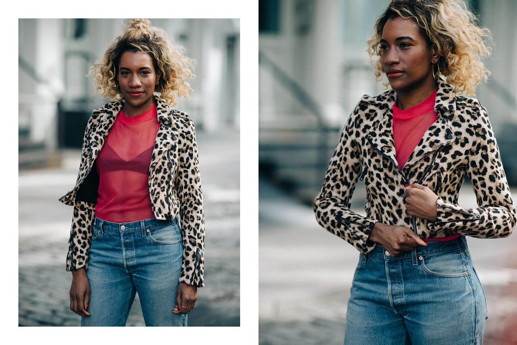 Danielle Prescod wearing H&M leopard jacket