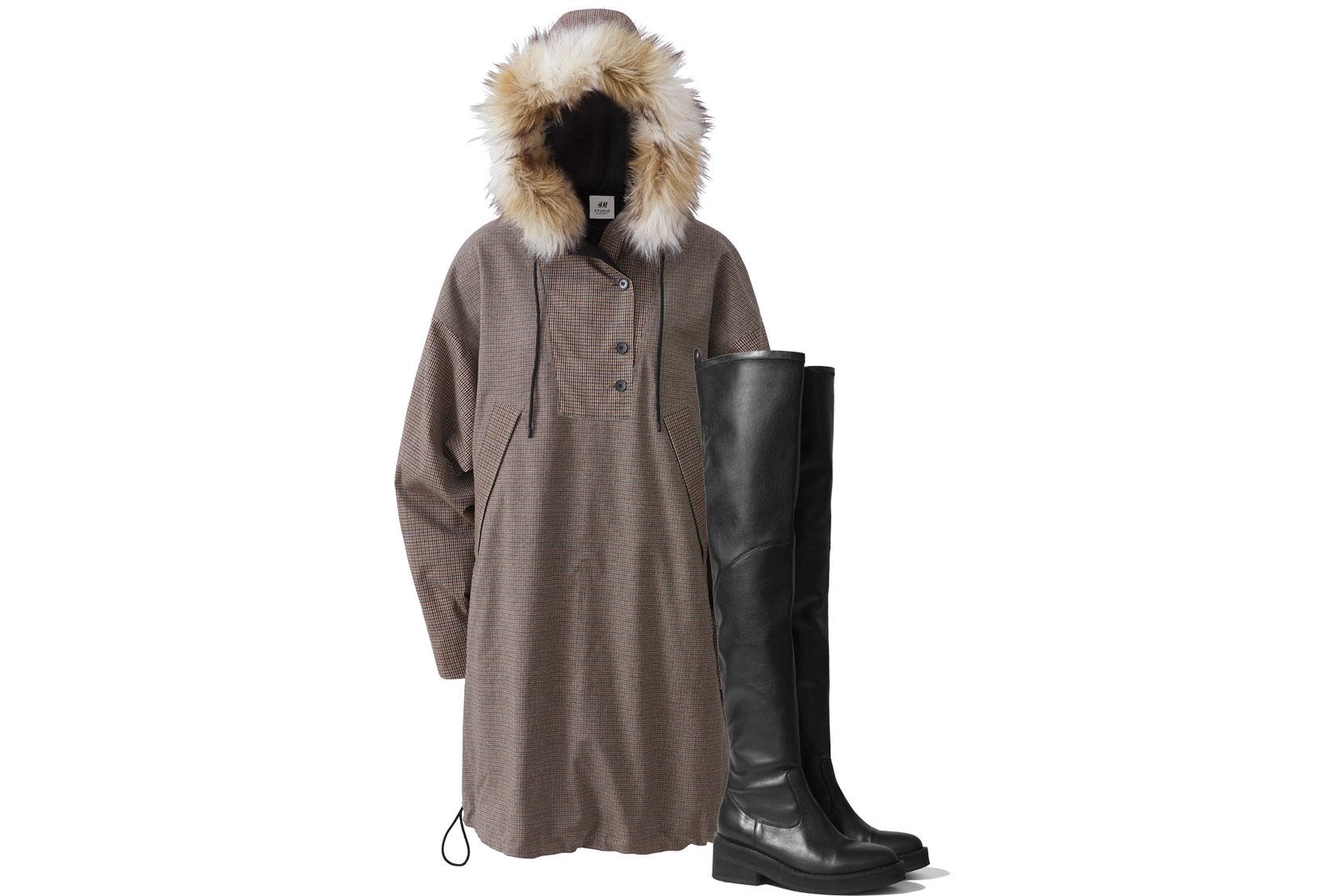 H&M STUDIO格子花呢外套和黑色過膝靴