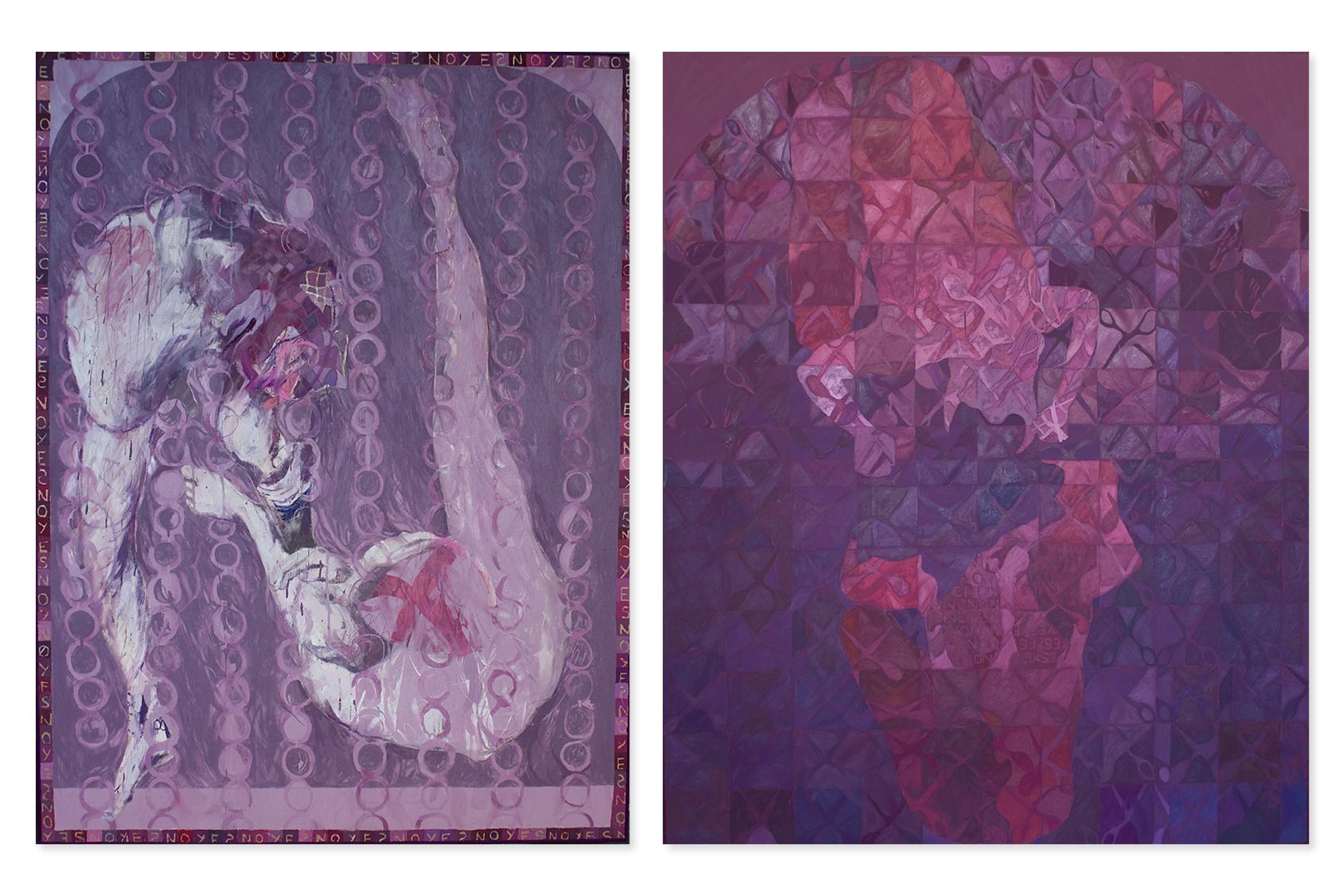 Robert Fry est connu pour ses tableaux et ses estampes immenses. À gauche : Partners Study 2, 2015. Technique mixte sur toile. À droite : Partners Stud 7, 2015. Peinture à l'huile sur toile. Deux images : Avec l'aimable autorisation de l'artiste et de la Galerie Kornfeld, Berlin.