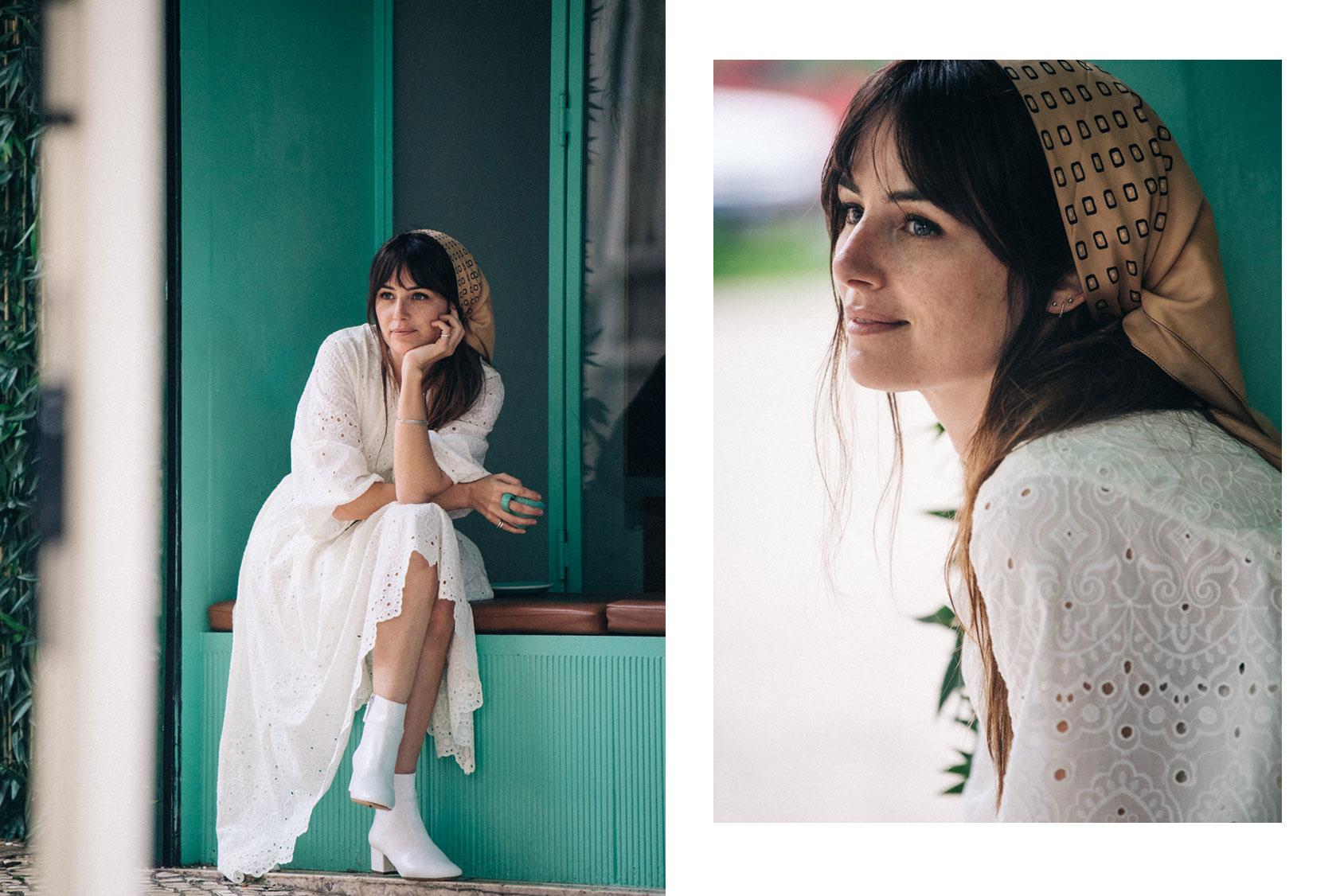 Helena Coelho in H&M dress and scarf