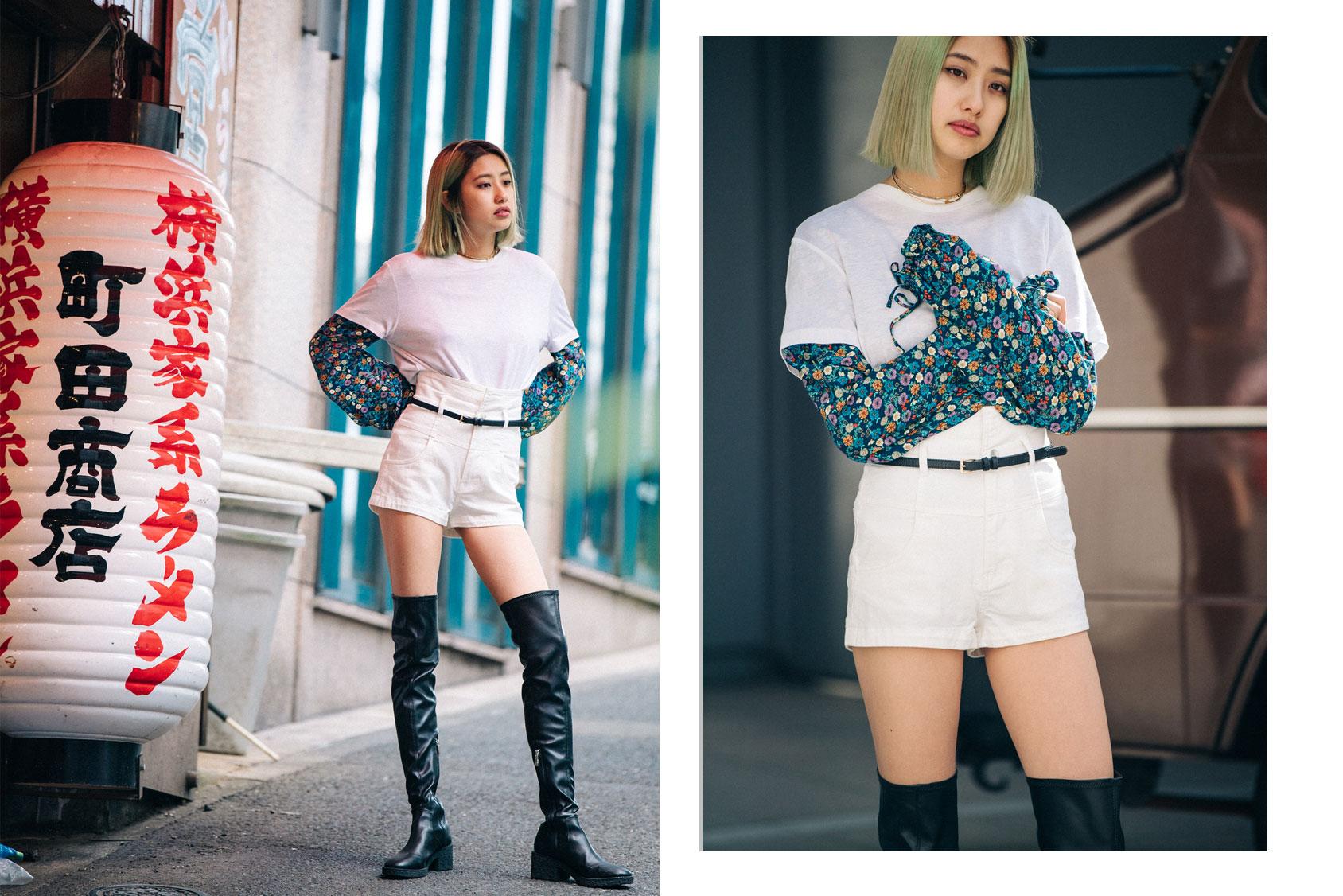 Minori Nakada con shorts y botas de H&M