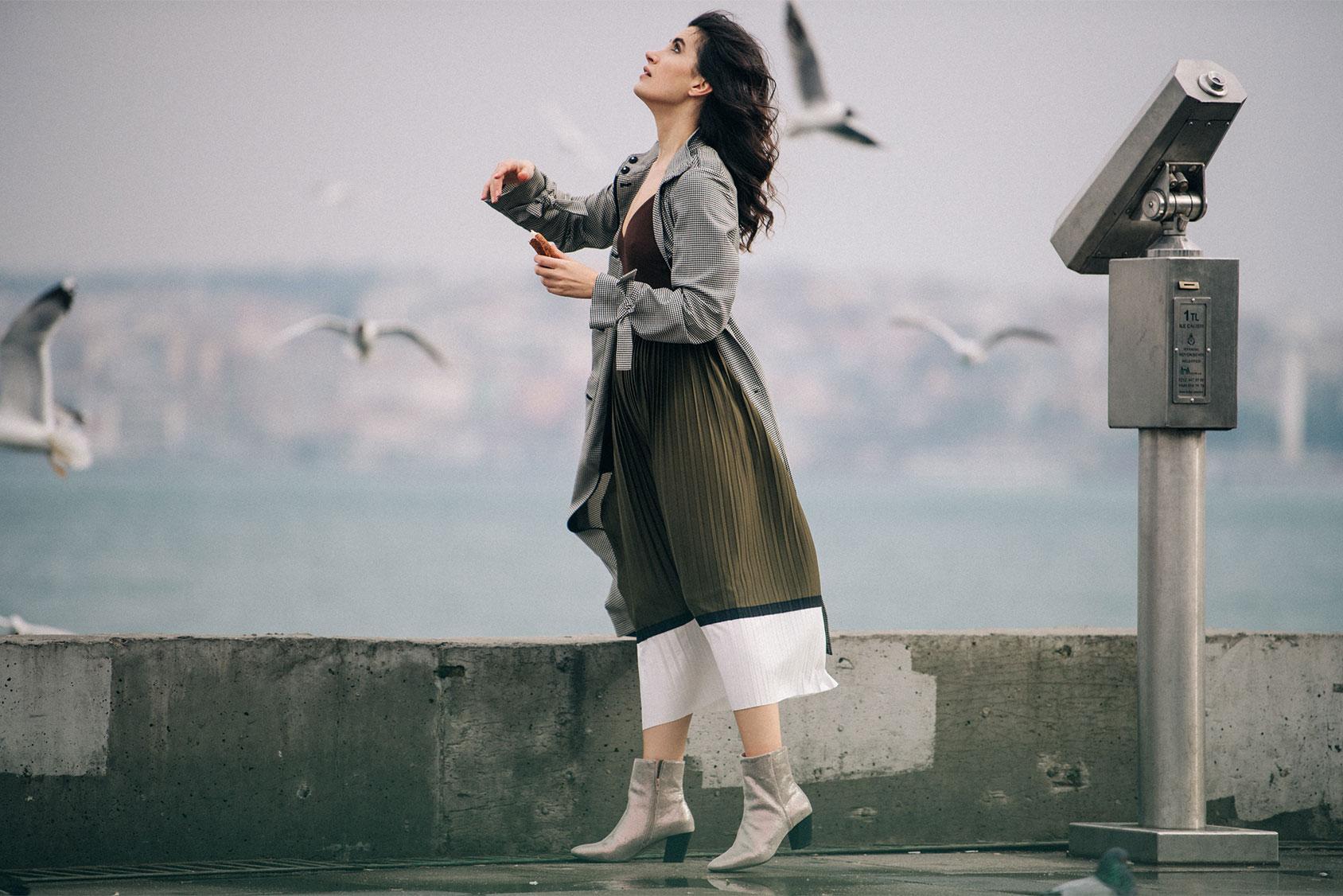 Gamze Biran in H&M skirt