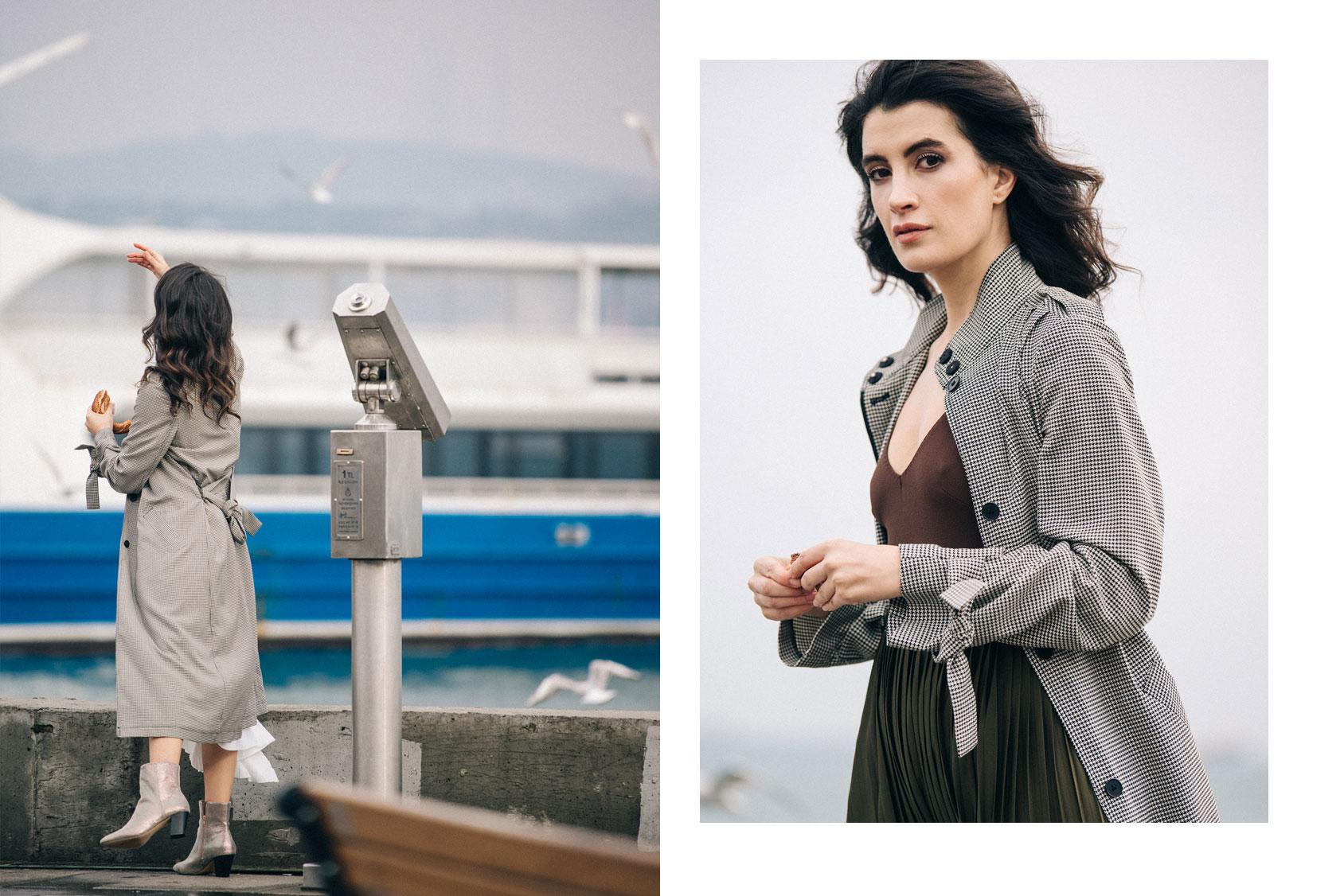 Gamze Biran in H&M coat