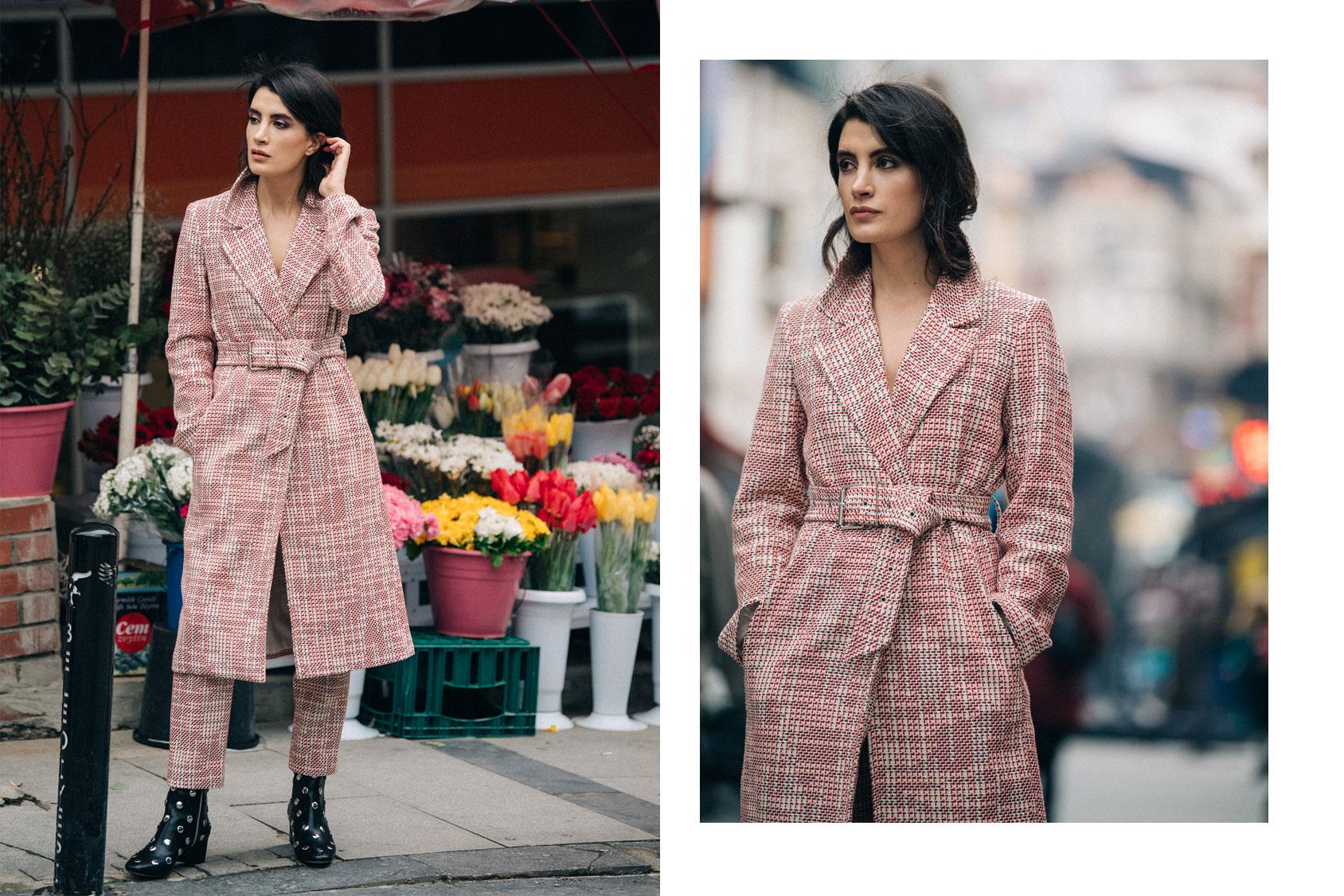 Gamze Biran in H&M coat and trousers