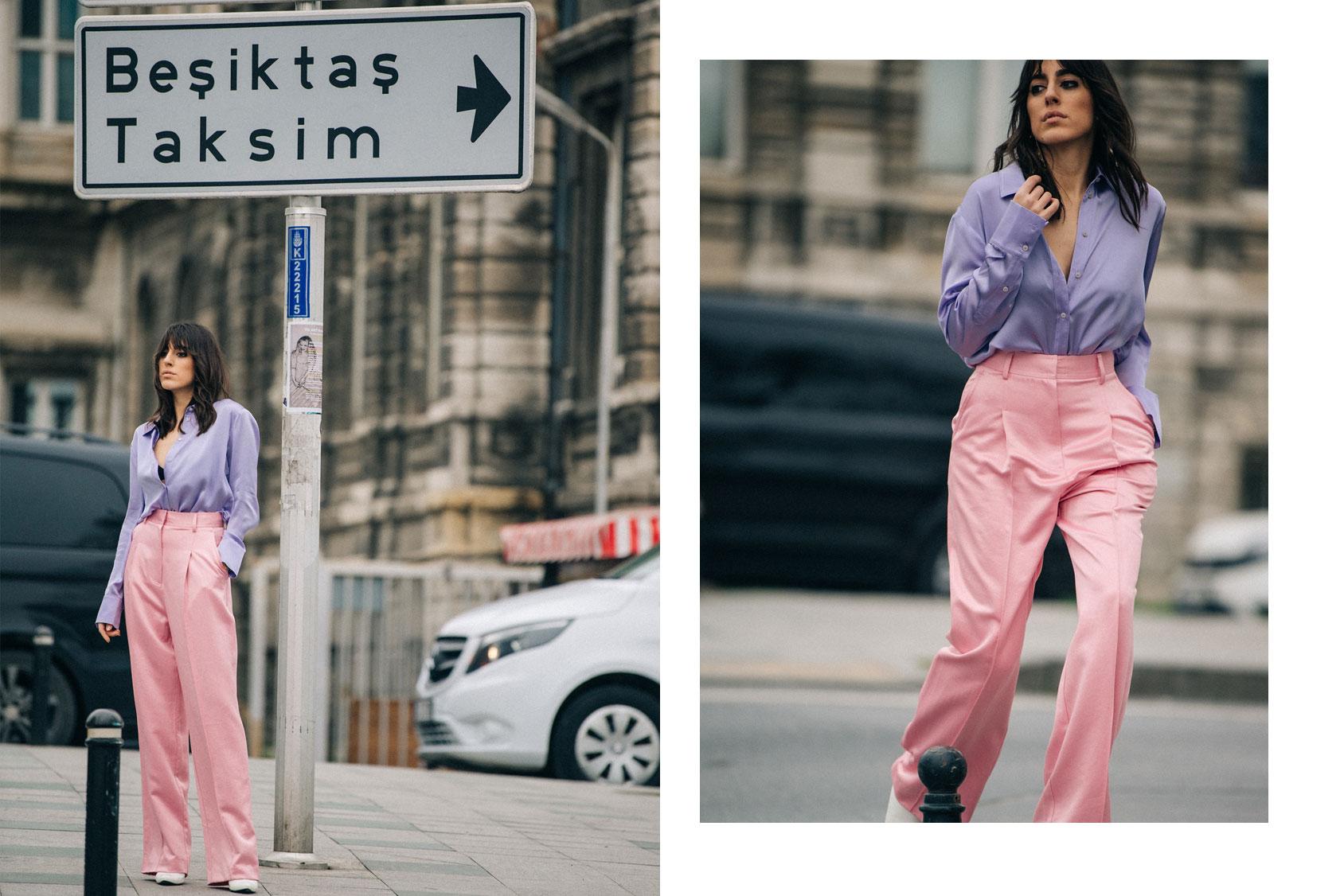 Nil Ninat in H&M pink trousers