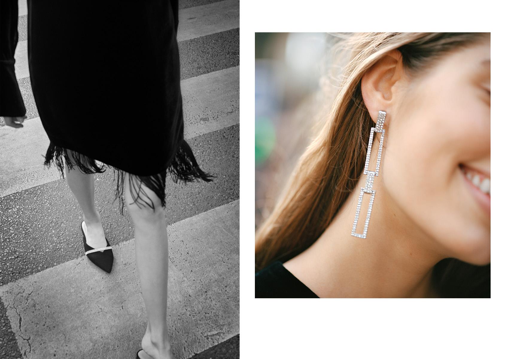 H&M 블랙 벨벳 드레스와 H&M 이어링