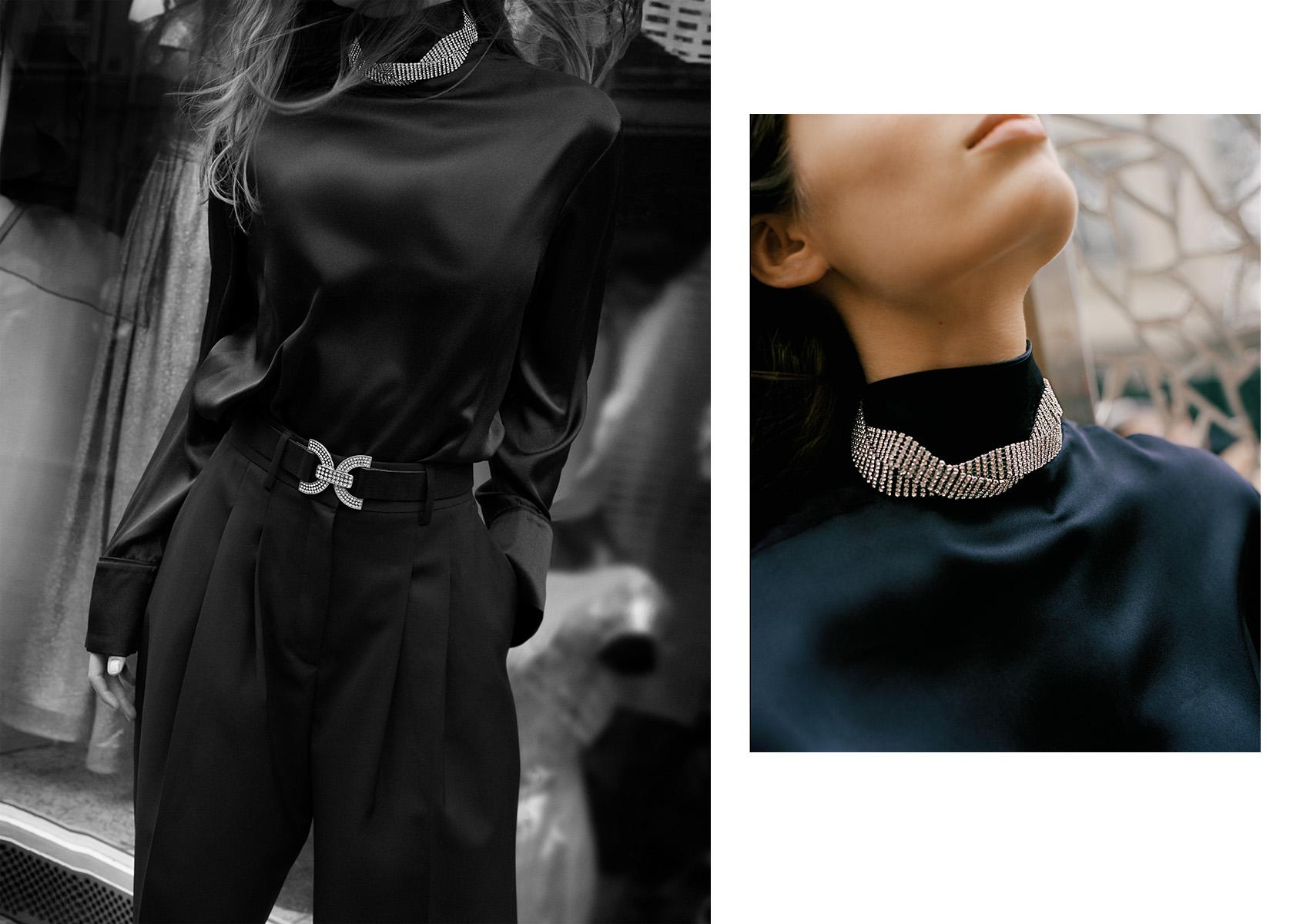H&M 라인스톤 버클 벨트와 롤넥 위에 걸친 H&M 초커