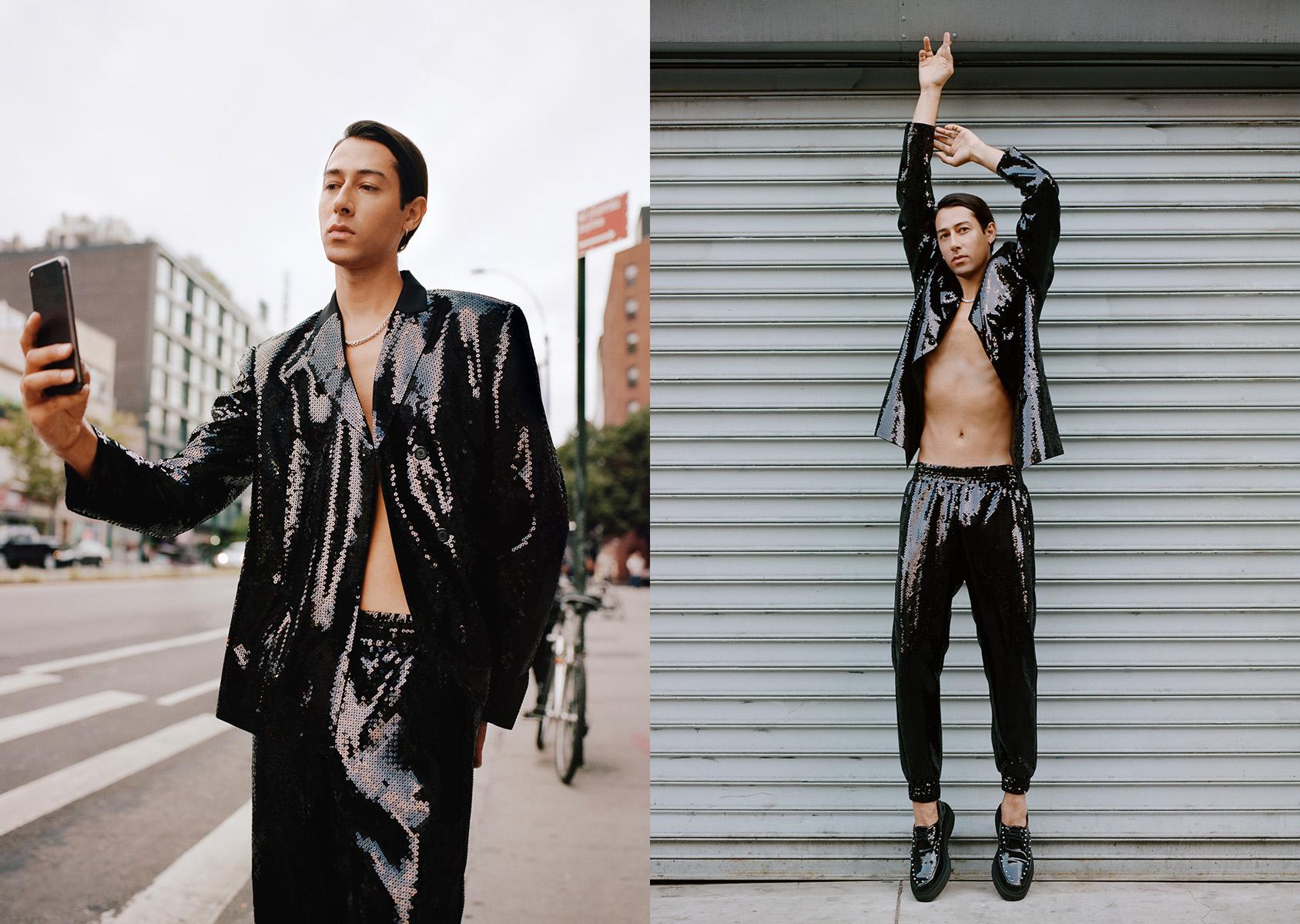Kindness wearing GIAMBATTISTA VALLI x H&M sequined jacket and pants. GIAMBATTISTA VALLI x H&M creepers