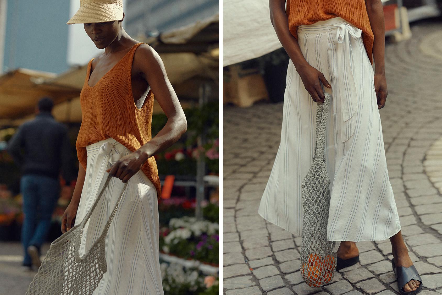H&M straw sun visor and H&M net bag