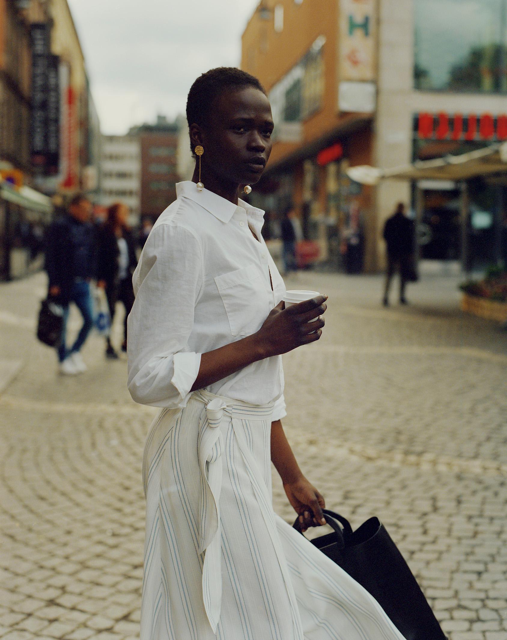 H&M striped wrap skirt with H&M crisp white shirt