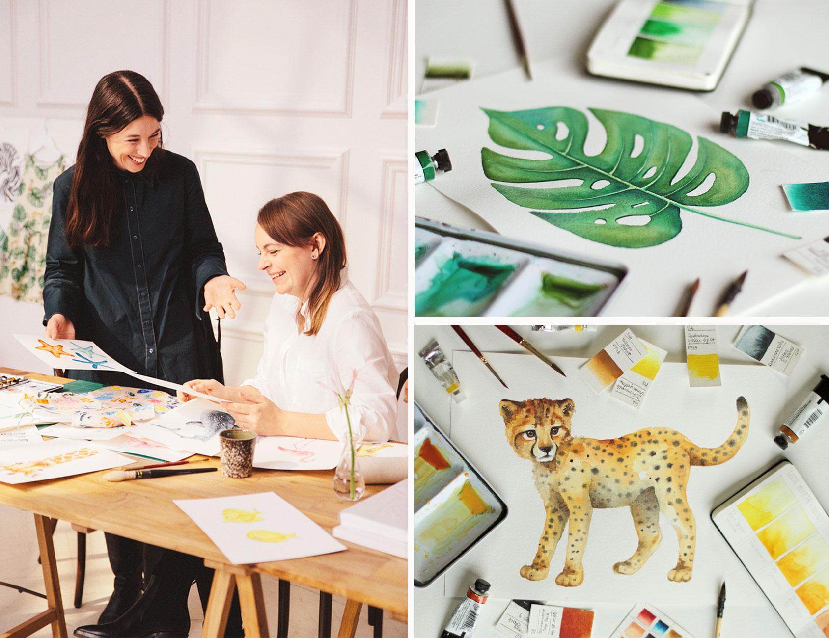 Karolina Kijak and Sofia Löfstedt, Head of Design Kids at H&M, discuss the sketches in Karolina's studio.